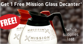 Get one free Mission-branded Glass Decanter with one of the BUNN coffee makers below. While Supplies Last.