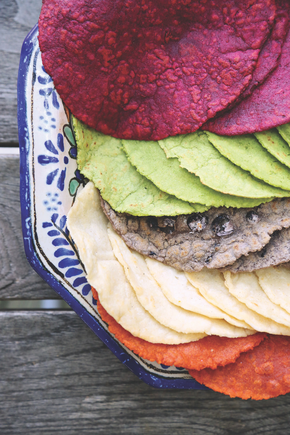Colored Tortillas made with vegetables, herbs and chilies; Photo by Sunni Hammer