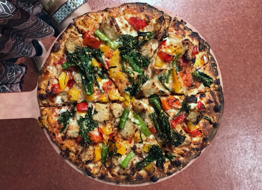 Only the freshest toppings for a Drafthouse pizza, like peppers and broccoli.