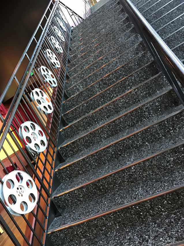 The staircase at Alamo Drafthouse's location in Austin's Mueller neighborhood.