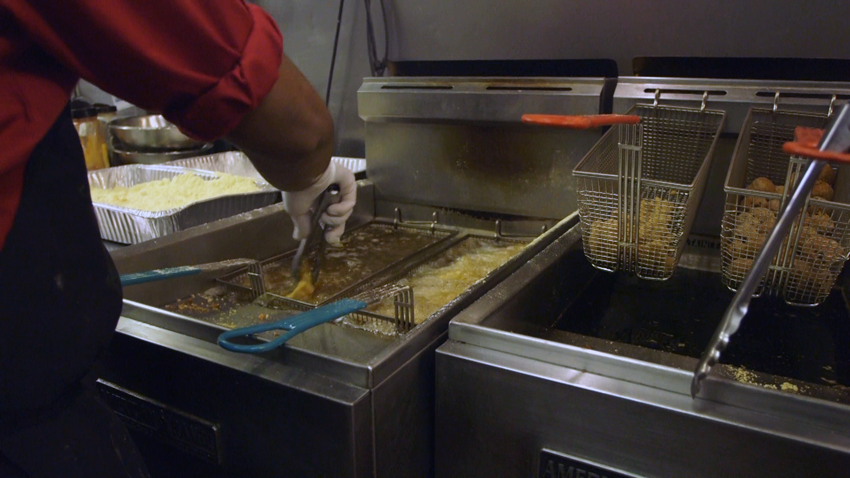 The fryers work overtime in the Saloon kitchen, particularly on Friday's when the catfish buffet is served up.