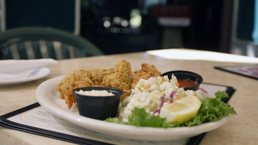 A Mission Restaurant Supply Favorite: Fried catfish with savory cole slaw, plus tartar sauce and ketchup.