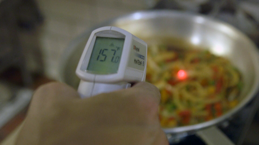 Ortiz's Infrared Food Thermometer quickly pinpoints the target temperature on its laser sighting.