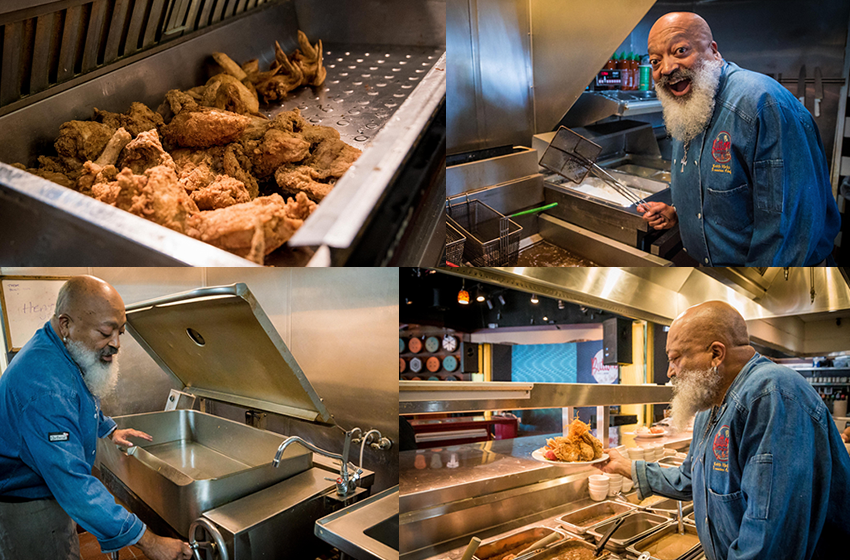 Executive Chef Keith Hicks happily working using his chicken crisper and the 'Tom Brady' tilt skillet.