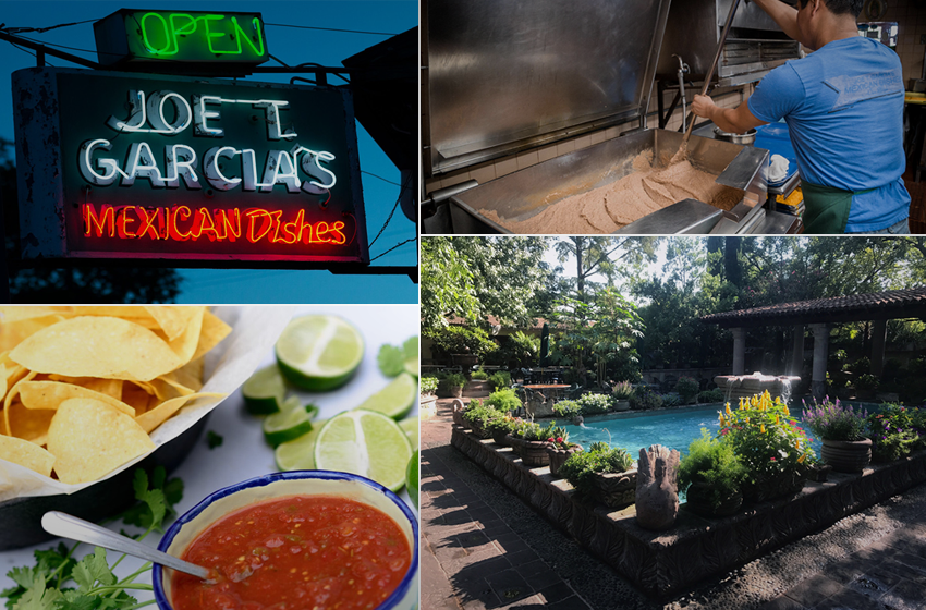 The Joe T. Garcia's sign. Making the refried beans. Chips and salsa. The fountain amidst the lush, verdant backdrop. (Photos courtesy joetgarcias.com)