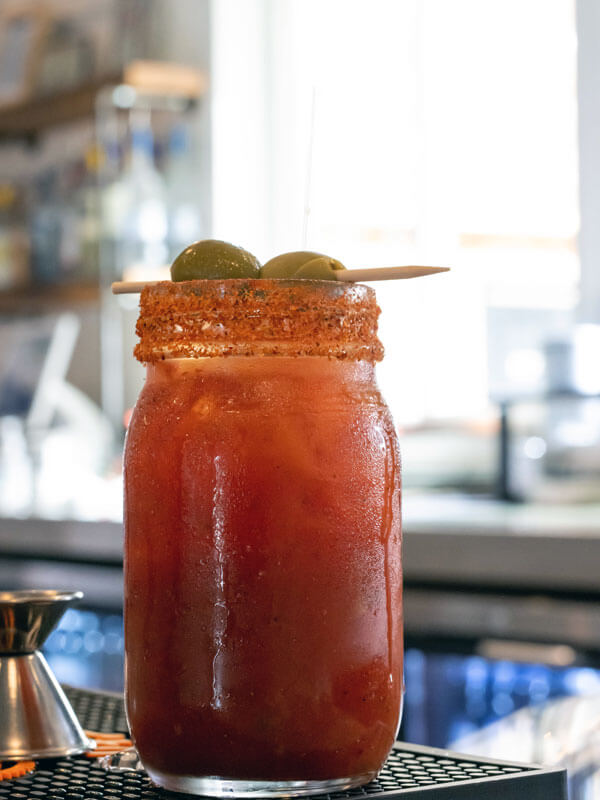 Ernie's favorite drink, a bloody Mary, is a signature drink at his namesake bar