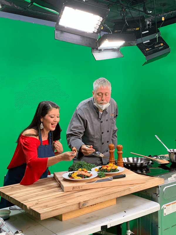 A.C. and Chef Thurman Love doing a taste test