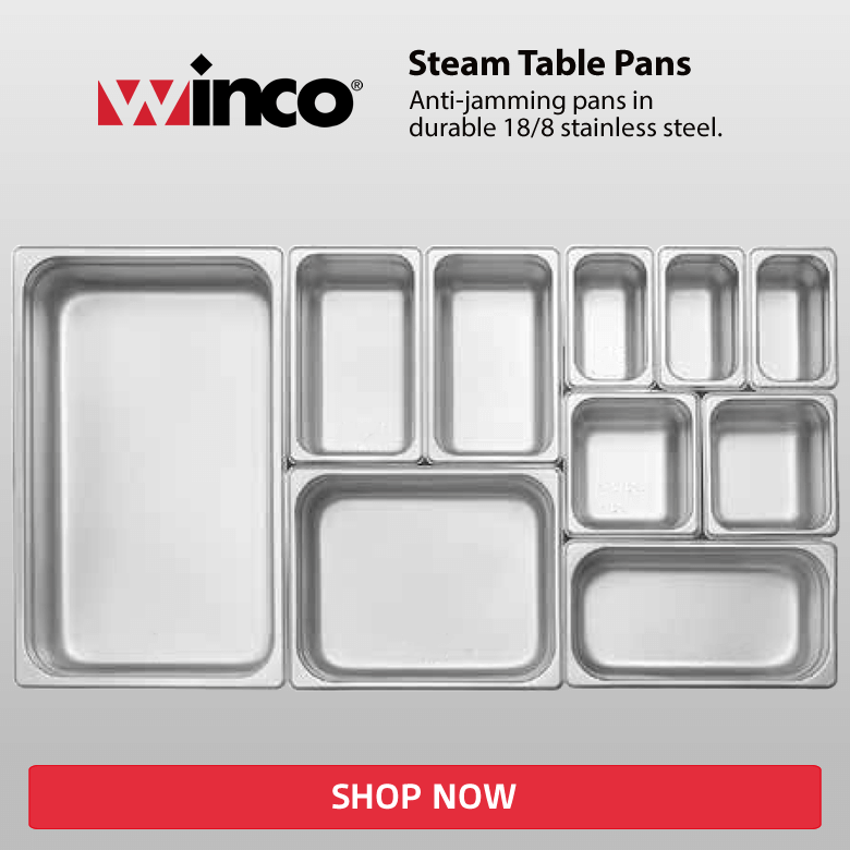 Winco Steam Table Pans. Anti-jamming pans in durable 18/8 stainless steel. Shop Now!