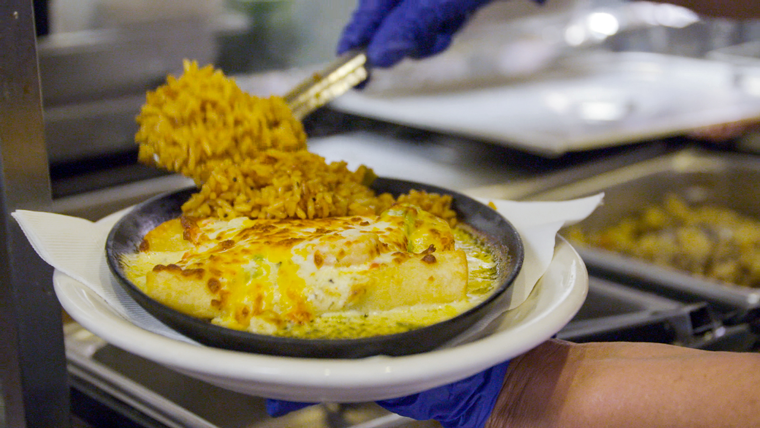 The restaurant's famous Shrimp Enchiladas are one of the most popular specials.
