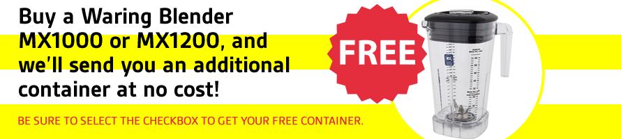 Buy a Waring Blender MX1000 or MX1200, and get a free container.