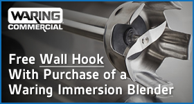 Free Wall Hook with Purchase of Waring Immersion Blender (Exclusions Apply).