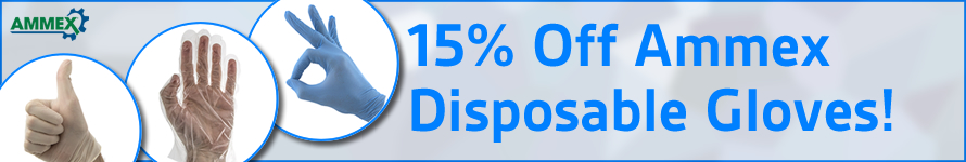 15% Off Ammex Disposable Gloves!