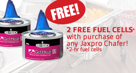 Get two free fuel 2-hr cells with the purchase of any Jaxpro chafing dish